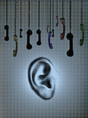 Dangling telephone receivers above ear, illustration