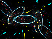 Abstract pattern of connected rings and lights, illustration