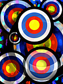 Abstract pattern of overlapping colour targets, illustration