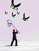 Businessman chasing flying dollars with net, illustration