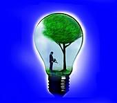 Businessman watering tree inside light bulb, illustration