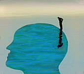 Man looking at water inside of head profile, illustration