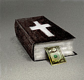 One dollar bill poking out of bible, illustration