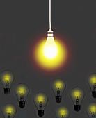 Bright bulb shining above dim bulbs, illustration