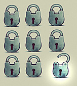 One open padlock among closed padlocks, illustration