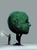 Man chopping down anthropomorphic face tree, illustration