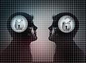 Men with padlocks inside of head, illustration