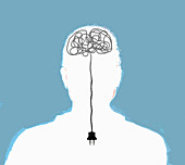 Man with electric wires in brain, illustration