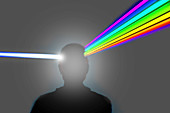 Man's head as prism refracting beam, illustration