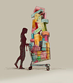 Woman pushing full shopping cart, illustration