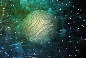 Grid pattern over exploding sphere, illustration