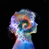 Swirling colours and sparks in boy's head, illustration