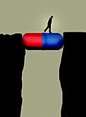 Man walking across pill capsule bridge, illustration
