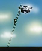 Man climbing ladder towards mortarboard in sky, illustration