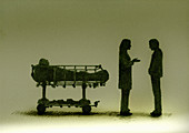 Doctor talking to relative about patient, illustration