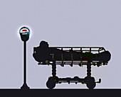 Man in hospital bed next to parking meter, illustration
