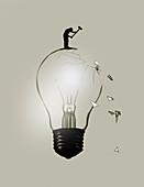 Man breaking light bulb with sledgehammer, illustration