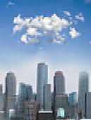 Pixelated cityscape on sunny day, illustration