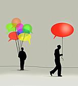 Man taking speech bubble balloon from man, illustration