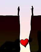 Heart stuck in gap between couple, illustration