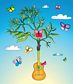 Butterflies and plant growing from guitar, illustration