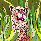 Leopard laying in tall grass, illustration