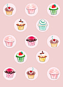 Pattern of cupcakes on pink background, illustration
