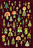 Christmas trees, illustration