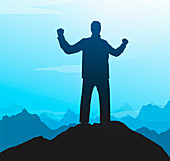 Silhouette of successful man on mountain top, illustration
