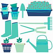 Gardening equipment, illustration