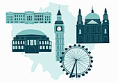 Historical London landmarks, illustration