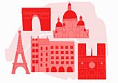 Historical Paris landmarks, illustration