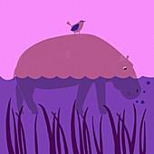 Bird on hippopotamus in river, illustration