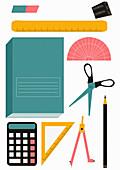 School stationery equipment set, illustration