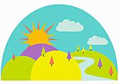 Rolling landscape on sunny day, illustration