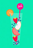 Fresh fruit in glass of healthy drink, illustration