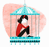 Unhappy woman sitting in birdcage, illustration