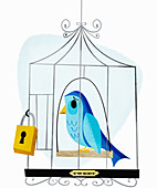 Padlock on birdcage containing sad bird, illustration