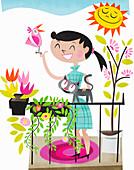 Happy woman on sunny balcony, illustration