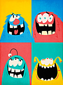 Composite image of four happy monsters, illustration