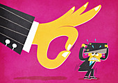Large hand flicking terrified businessman, illustration