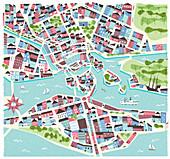 Illustrated map of Stockholm, Sweden, illustration