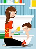 Mother bathing son in baby bathtub, illustration