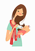Mother feeding baby girl with bottle, illustration