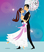 Bride and groom dancing under disco ball, illustration