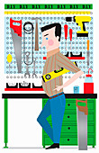 DIY handyman with tools at workbench, illustration