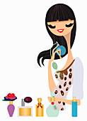 Woman trying on perfume, illustration