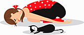 Woman and cat relaxing in yoga child's pose, illustration