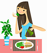 Woman smelling fresh herb with healthy meal, illustration