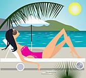 Serene woman sunbathing at beach, illustration